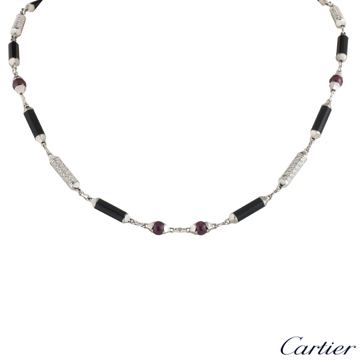 Cartier White Gold Diamond, Onyx & Ruby Le Baiser Du Dragon Necklace